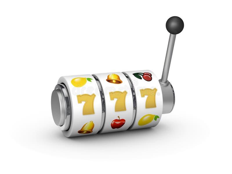 τρισδιάστατη απεικόνιση του μηχανήματος τυχερών παιχνιδιών με κέρματα με το τυχερό τζακ ποτ sevens απεικόνιση αποθεμάτων