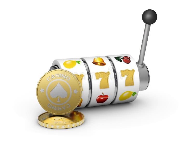 τρισδιάστατη απεικόνιση του μηχανήματος τυχερών παιχνιδιών με κέρματα με το τυχερά τζακ ποτ και τα νομίσματα sevens διανυσματική απεικόνιση