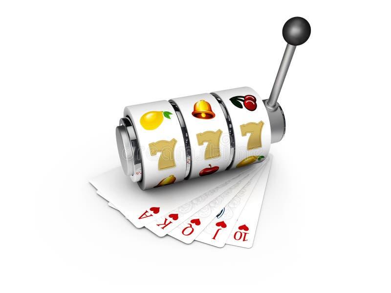 τρισδιάστατη απεικόνιση του μηχανήματος τυχερών παιχνιδιών με κέρματα με το τυχερό τζακ ποτ sevens με τις κάρτες παιχνιδιού διανυσματική απεικόνιση