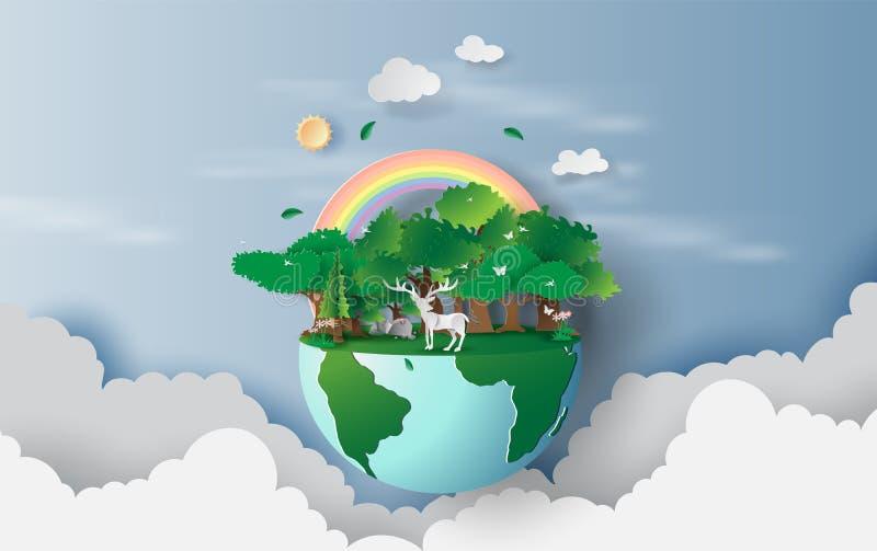 τρισδιάστατη απεικόνιση του ταράνδου στο πράσινες παγκόσμιο περιβάλλον σχεδίου δέντρων δασικές, δημιουργικές και την ιδέα έννοιας διανυσματική απεικόνιση