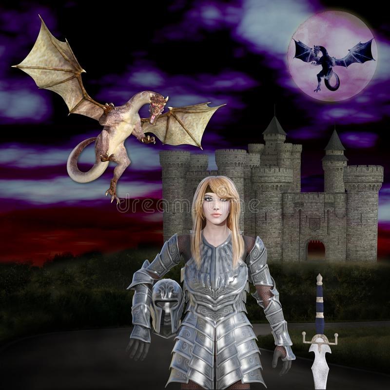 τρισδιάστατη απεικόνιση του φονιά δράκων πριγκηπισσών πολεμιστών απεικόνιση αποθεμάτων