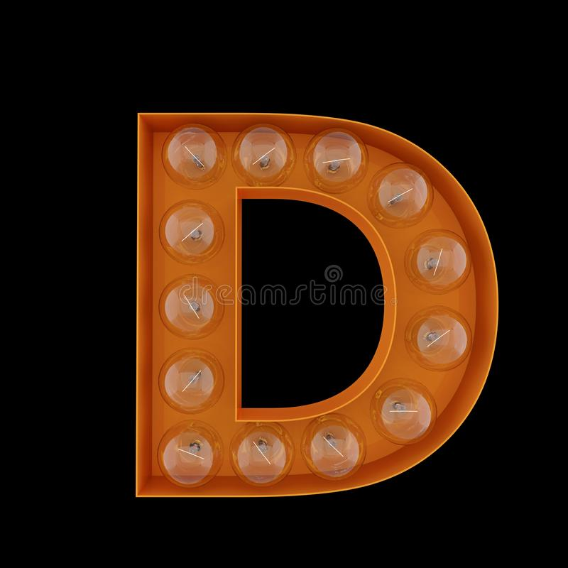 τρισδιάστατη απεικόνιση Το κεφαλαίο γράμμα Δ με τις λάμπες φωτός απεικόνιση αποθεμάτων