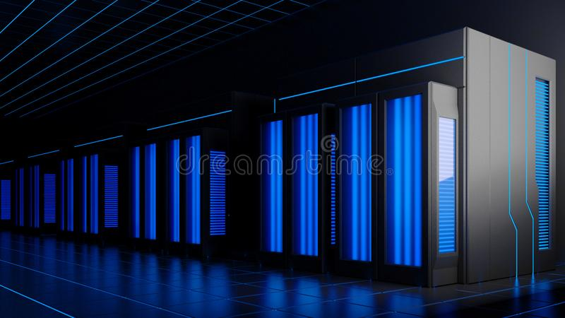 τρισδιάστατη απεικόνιση των κεντρικών υπολογιστών στο σκοτεινό δωμάτιο διανυσματική απεικόνιση