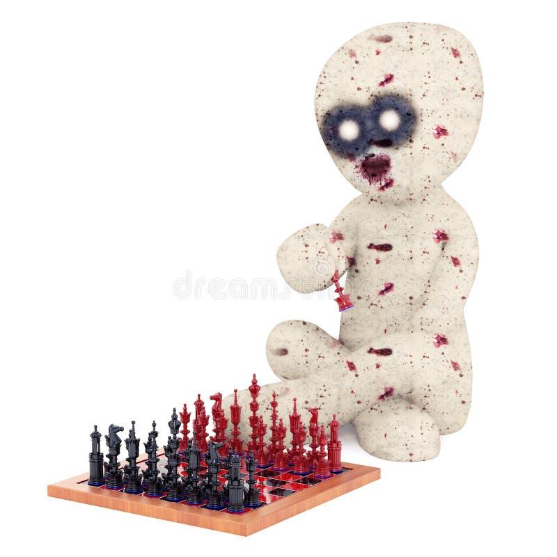 τρισδιάστατη απεικόνιση φορέων σκακιού Zombie ατόμων στοκ φωτογραφία