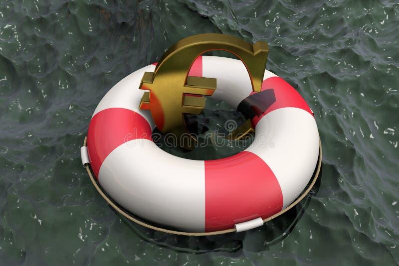 τρισδιάστατη απεικόνιση: Χρυσό σύμβολο του ευρώ σε ένα Lifebuoy στο υπόβαθρο του λασπώδους νερού Υποστήριξη για την οικονομία της διανυσματική απεικόνιση