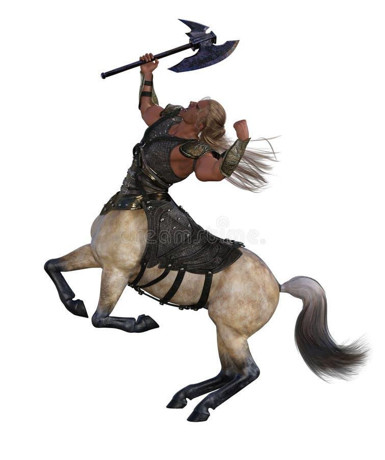 τρισδιάστατη απεικόνιση Centaur με το τσεκούρι και το τεθωρακισμένο διανυσματική απεικόνιση