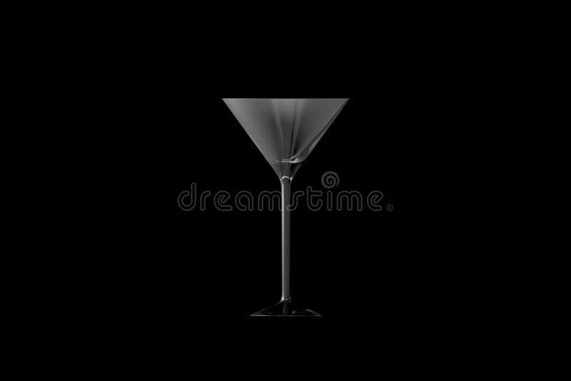 τρισδιάστατη απεικόνιση martini του γυαλιού που απομονώνεται στη μαύρη πλάγια όψη - το γυαλί κατανάλωσης δίνει ελεύθερη απεικόνιση δικαιώματος
