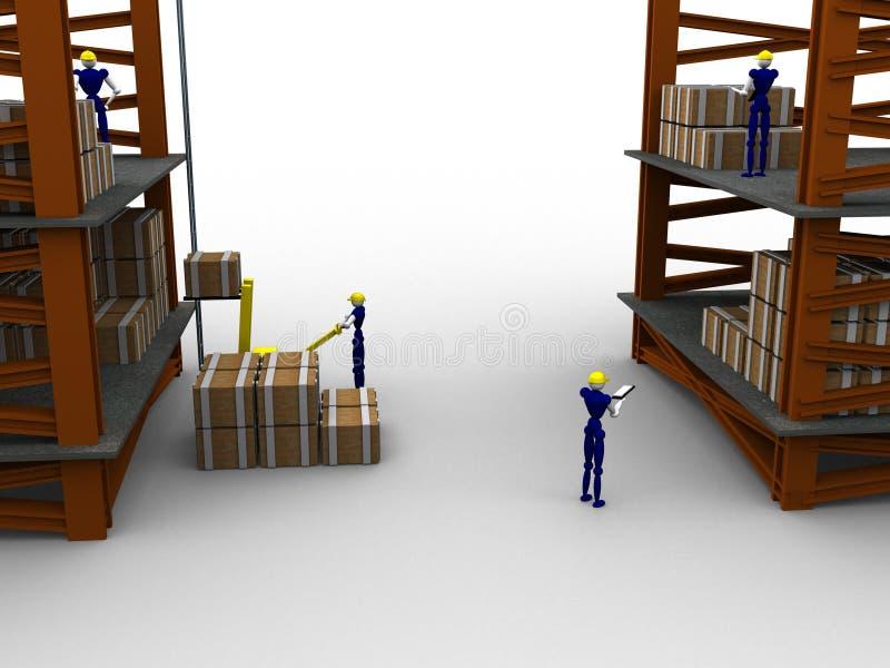 τρισδιάστατη αποθήκη εμπορευμάτων διανυσματική απεικόνιση