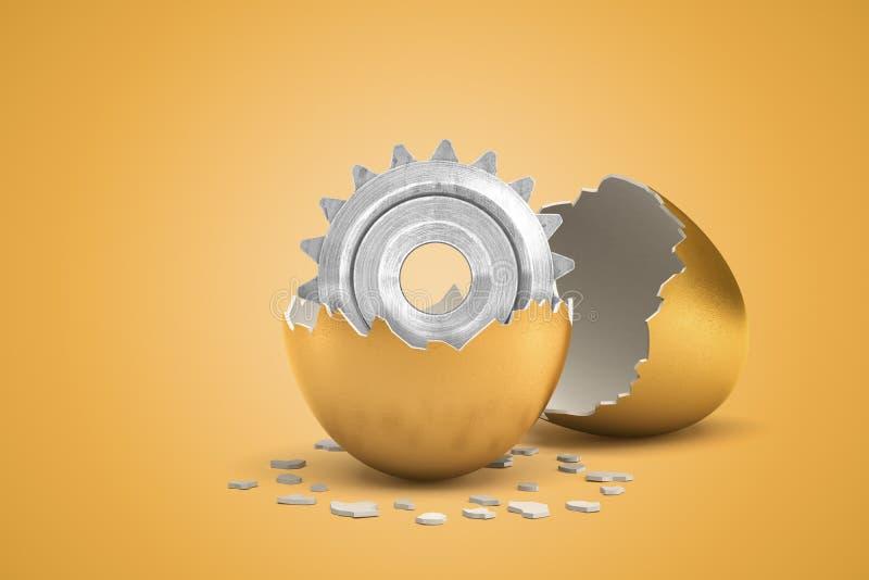 τρισδιάστατη αποτύπωση μεταλλικού τροχού που μόλις εκκολάφθηκε από χρυσό αυγό απεικόνιση αποθεμάτων