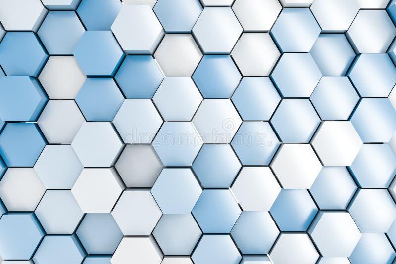 τρισδιάστατη απόδοση, άσπροι hexagon κύβοι διανυσματική απεικόνιση