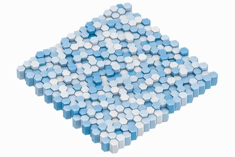 τρισδιάστατη απόδοση, άσπροι hexagon κύβοι απεικόνιση αποθεμάτων