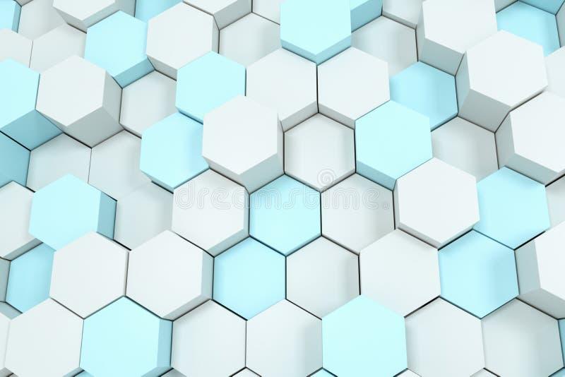 τρισδιάστατη απόδοση, άσπροι hexagon κύβοι ελεύθερη απεικόνιση δικαιώματος