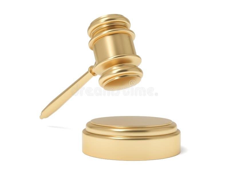 τρισδιάστατη απόδοση απομονωμένο gavel δικαστών στον αέρα κάτω από έναν υγιή φραγμό σε ένα άσπρο υπόβαθρο διανυσματική απεικόνιση