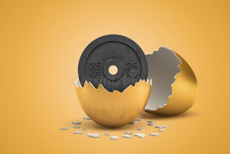 τρισδιάστατη απόδοση 25 βάρους κλ εκκόλαψης πιάτων από το χρυσό αυγό στο κίτρινο υπόβαθρο στοκ εικόνες
