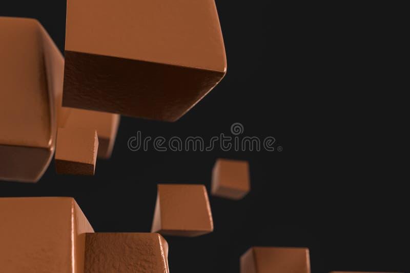 τρισδιάστατη απόδοση, δημιουργικοί κύβοι με τη στρεβλωμένη μορφή απεικόνιση αποθεμάτων