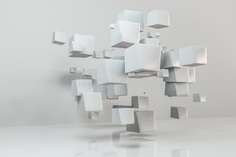 τρισδιάστατη απόδοση, δημιουργικοί κύβοι με τη στρεβλωμένη μορφή διανυσματική απεικόνιση