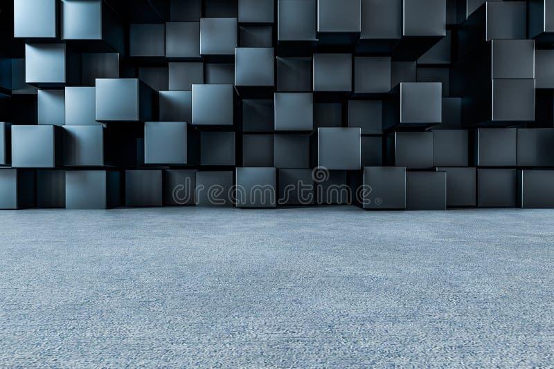 τρισδιάστατη απόδοση, δημιουργικός τοίχος κύβων με το πάτωμα ελεύθερη απεικόνιση δικαιώματος