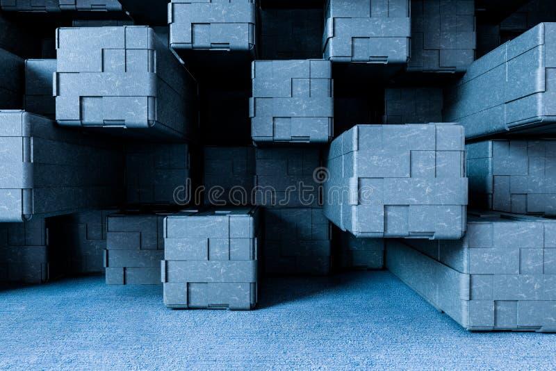 τρισδιάστατη απόδοση, δημιουργικός τοίχος κύβων με το πάτωμα διανυσματική απεικόνιση