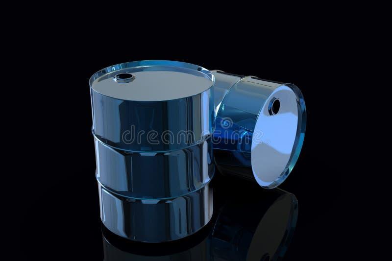 Τρισδιάστατη απόδοση δύο μπλε μετάλλων βιομηχανική βαρελιών πετρελαίου ελεύθερη απεικόνιση δικαιώματος