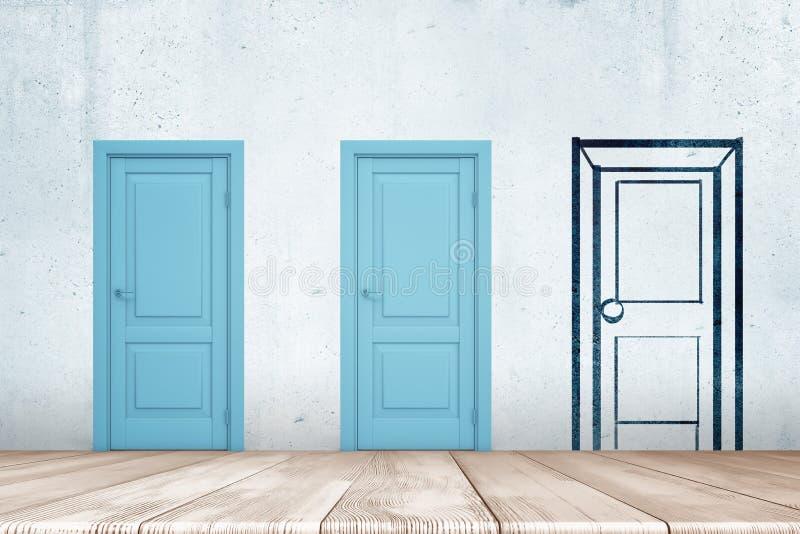 τρισδιάστατη απόδοση δύο μπλε πορτών και μιας πόρτας σκίτσων που επισύρονται την προσοχή στον τοίχο με το άσπρο ξύλινο πάτωμα κατ ελεύθερη απεικόνιση δικαιώματος