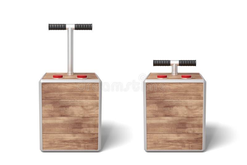 τρισδιάστατη απόδοση δύο ξύλινων κιβωτίων εκπυρσοκροτήρων στο άσπρο υπόβαθρο απεικόνιση αποθεμάτων