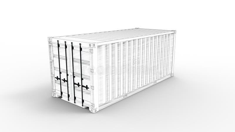 Τρισδιάστατη απόδοση εμπορευματοκιβωτίων θάλασσας του μοντέλου υπολογιστή στο άσπρο υπόβαθρο ελεύθερη απεικόνιση δικαιώματος