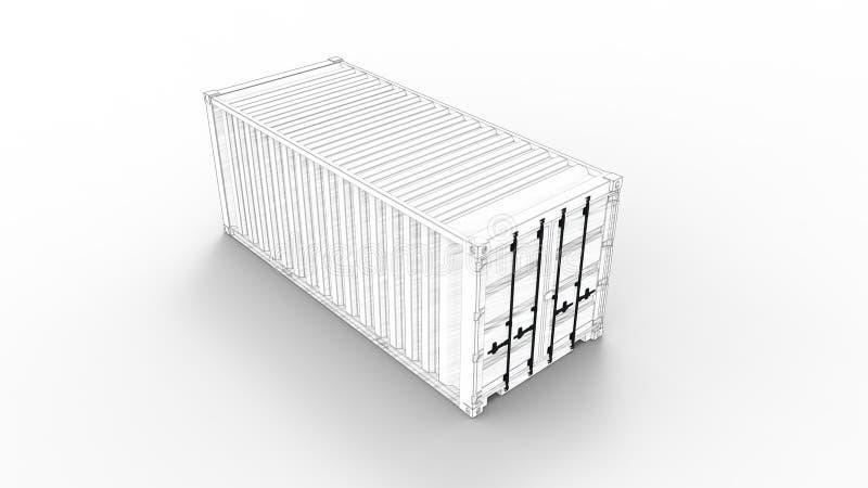 Τρισδιάστατη απόδοση εμπορευματοκιβωτίων θάλασσας του μοντέλου υπολογιστή στο άσπρο υπόβαθρο απεικόνιση αποθεμάτων