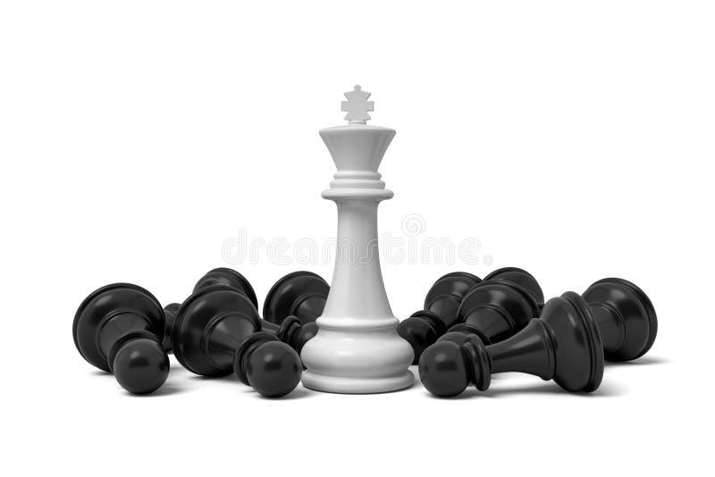 τρισδιάστατη απόδοση ενός άσπρου μόνιμου κομματιού σκακιού βασιλιάδων που περιβάλλεται από τα πεσμένα ενέχυρα απεικόνιση αποθεμάτων