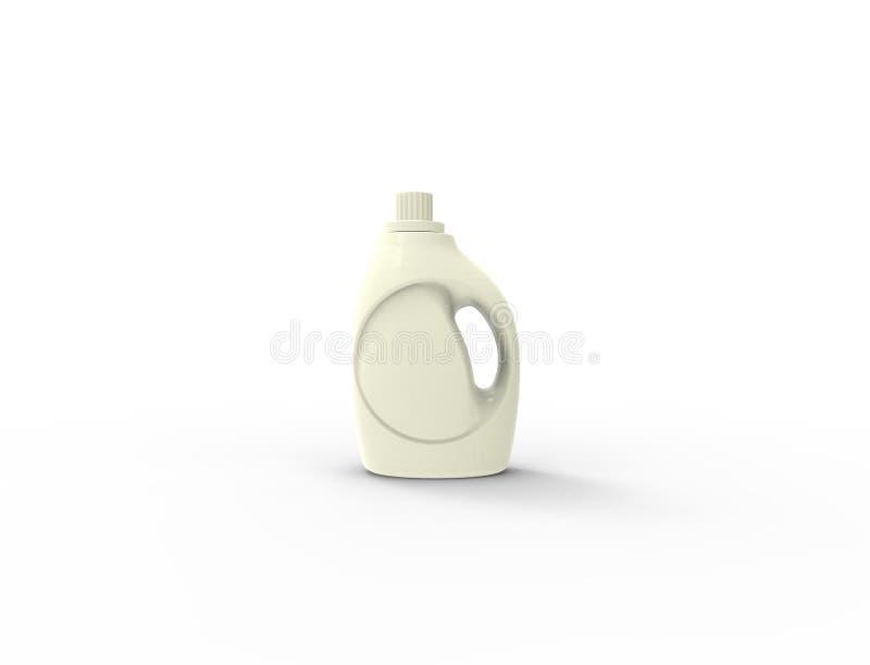 τρισδιάστατη απόδοση ενός άσπρου πλαστικού μπουκαλιού σκονών πλύσης στο άσπρο υπόβαθρο ελεύθερη απεικόνιση δικαιώματος