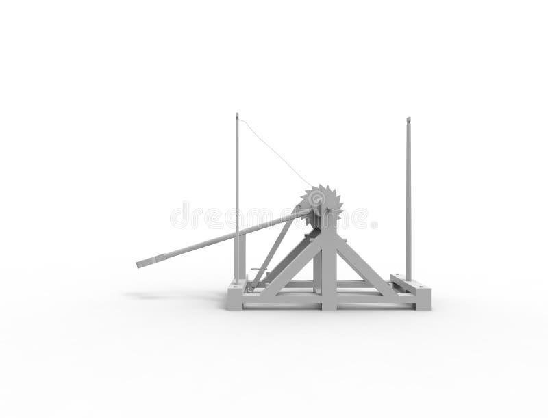 τρισδιάστατη απόδοση ενός καταπέλτη Leonardo Da Vinci στο άσπρο υπόβαθρο απεικόνιση αποθεμάτων