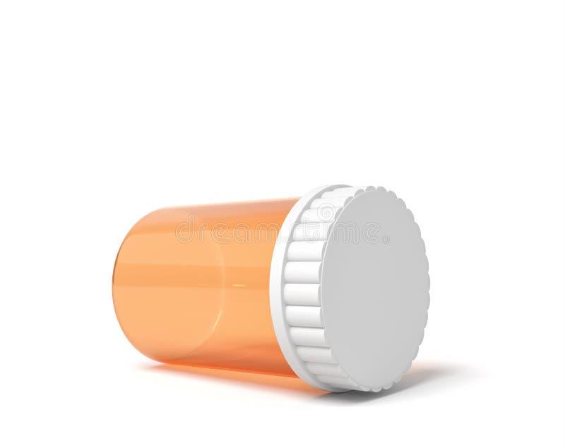 τρισδιάστατη απόδοση ενός κενού πορτοκαλιού πλαστικού εμπορευματοκιβωτίου βάζων χαπιών που βρίσκεται στην πλευρά του που κλείνουν ελεύθερη απεικόνιση δικαιώματος