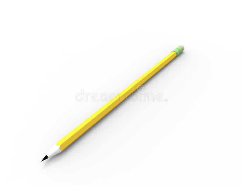 τρισδιάστατη απόδοση ενός μολυβιού σκίτσων που απομονώνεται στο άσπρο υπόβαθρο στούντιο απεικόνιση αποθεμάτων