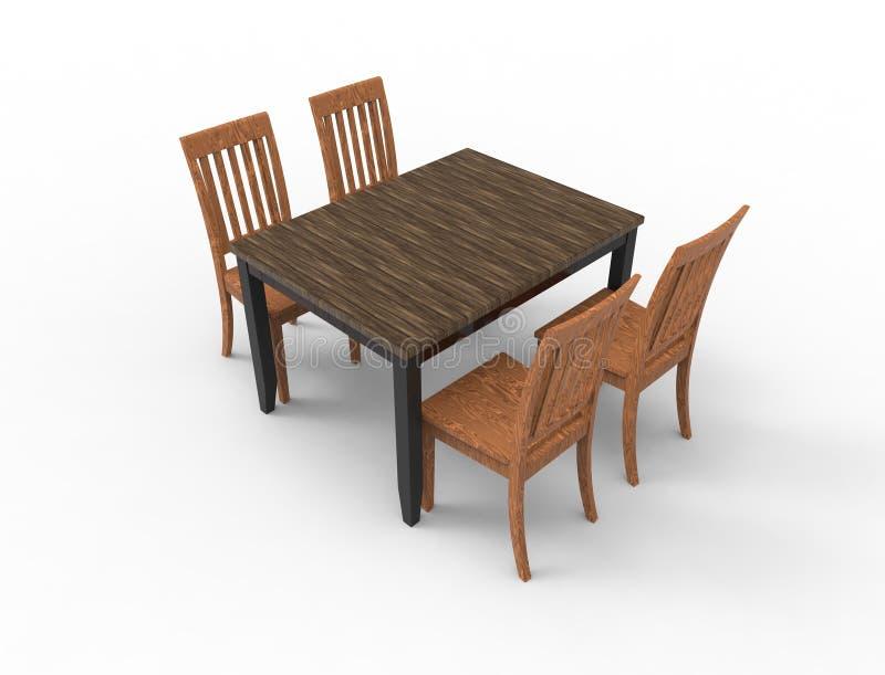 τρισδιάστατη απόδοση ενός ξύλινου πίνακα γευμάτων με 4 καρέκλες στοκ εικόνες