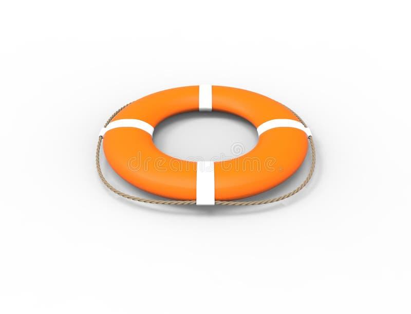 τρισδιάστατη απόδοση ενός πορτοκαλιού σημαντήρα ζωής που απομονώνεται στο άσπρο υπόβαθρο διανυσματική απεικόνιση