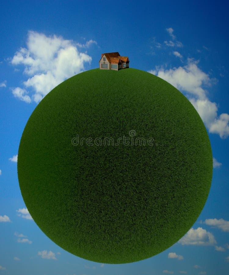 τρισδιάστατη απόδοση ενός πράσινου πλανήτη με ένα μικρό σπίτι ενάντια σε έναν μπλε ουρανό διανυσματική απεικόνιση