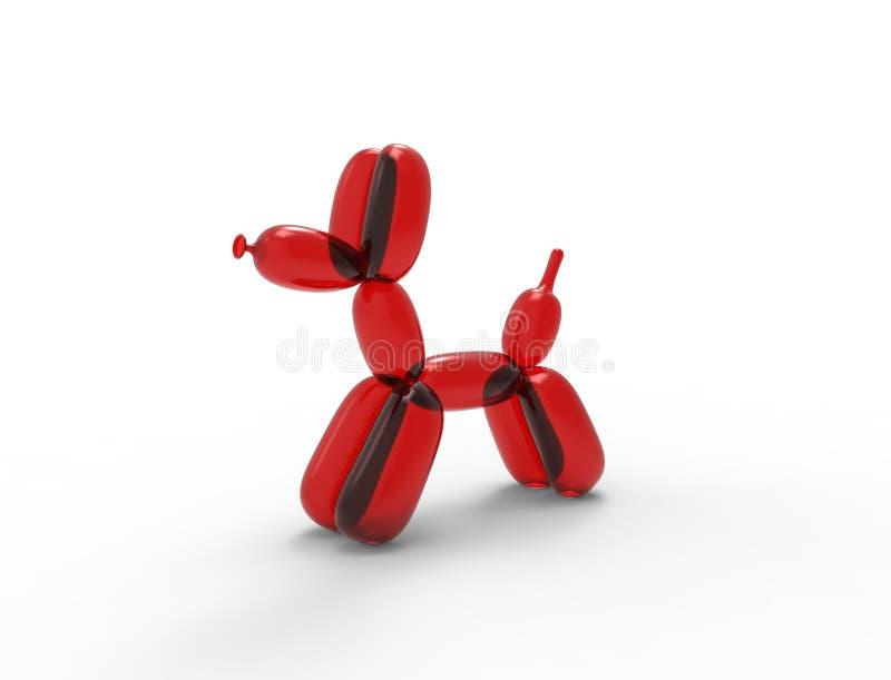τρισδιάστατη απόδοση ενός σκυλιού μπαλονιών που απομονώνεται στο άσπρο υπόβαθρο στούντιο απεικόνιση αποθεμάτων