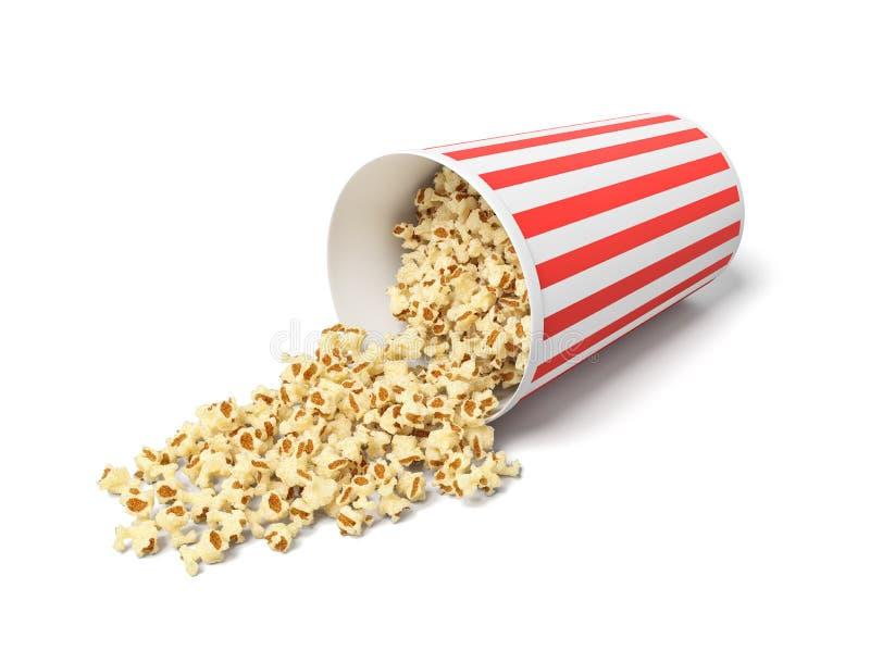 τρισδιάστατη απόδοση ενός στρογγυλού ριγωτού popcorn κάδου που βρίσκεται στην πλευρά του με popcorn που ανατρέπει από το στοκ εικόνα με δικαίωμα ελεύθερης χρήσης