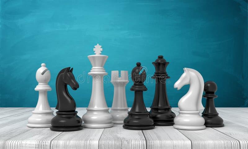 τρισδιάστατη απόδοση ενός συνόλου γραπτών ειδωλίων σκακιού που στέκονται σε έναν ξύλινο πίνακα στοκ φωτογραφίες