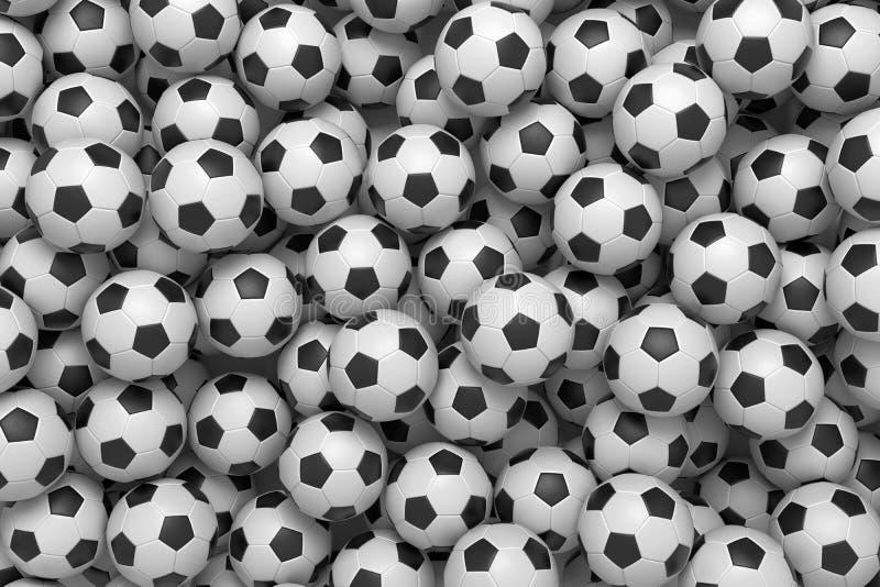 τρισδιάστατη απόδοση ενός σωρού των ίδιων σφαιρών ποδοσφαίρου που βρίσκονται στον ατελείωτο σωρό χοίρων που παρουσιάζεται από την ελεύθερη απεικόνιση δικαιώματος