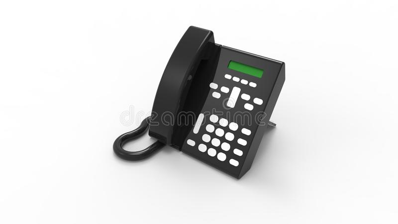 τρισδιάστατη απόδοση ενός τηλεφώνου γραφείων που απομονώνεται στο άσπρο υπόβαθρο διανυσματική απεικόνιση