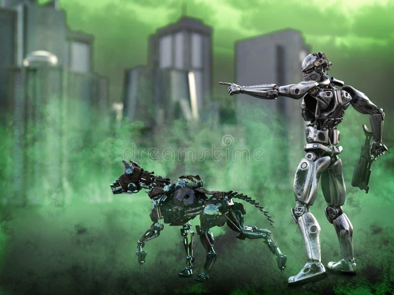 τρισδιάστατη απόδοση ενός φουτουριστικού στρατιώτη mech με το σκυλί διανυσματική απεικόνιση