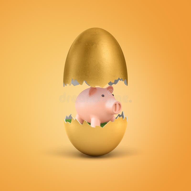 τρισδιάστατη απόδοση ενός χρυσού κοχυλιού αυγών που σπάζουν στα μισά με μια χαριτωμένη ρόδινη piggy τράπεζα μέσα ελεύθερη απεικόνιση δικαιώματος