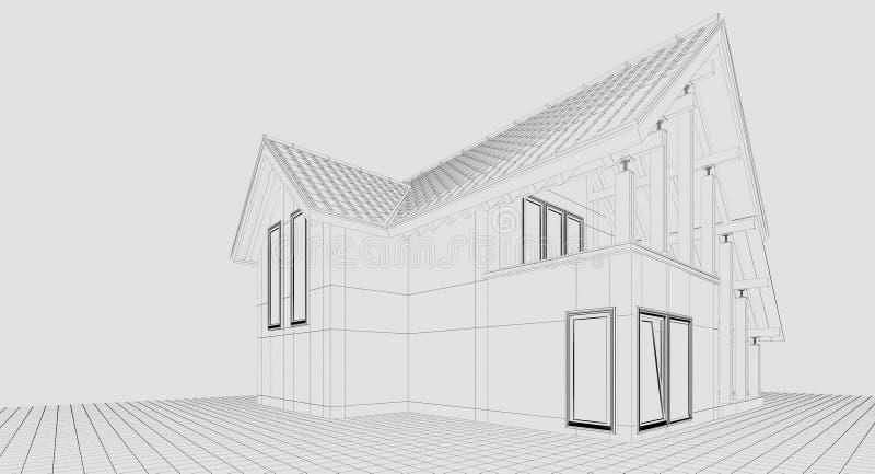 τρισδιάστατη απόδοση εξοχικό σπίτι μικρό στοκ φωτογραφία