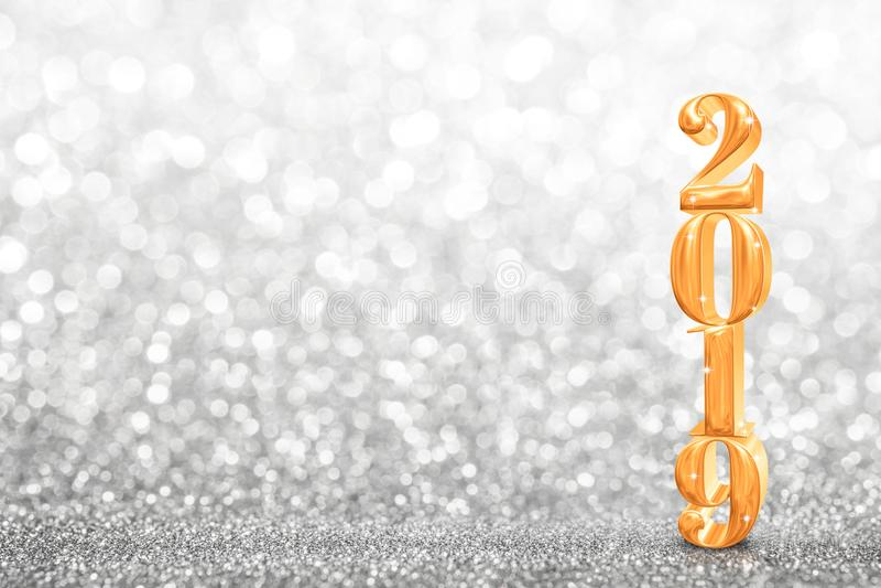 τρισδιάστατη απόδοση ετών του 2019 χρυσή νέα στο αφηρημένο σπινθήρισμα φωτεινό στοκ εικόνες