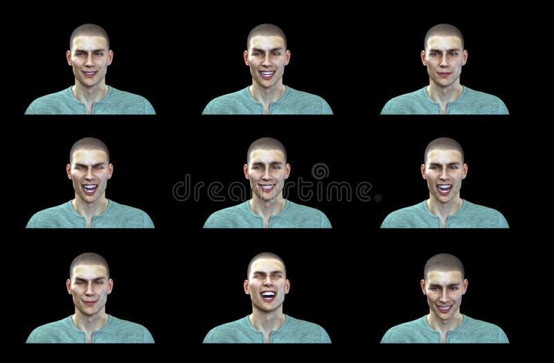 τρισδιάστατη απόδοση: Ευτυχείς εκφράσεις προσώπου της αρσενικής απεικόνισης με το μαύρο υπόβαθρο απεικόνιση αποθεμάτων
