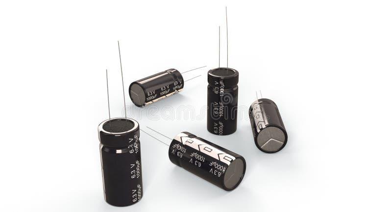 τρισδιάστατη απόδοση - ηλεκτρολυτικοί πυκνωτές στοκ εικόνες