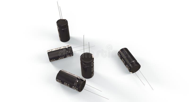 τρισδιάστατη απόδοση - ηλεκτρολυτικοί πυκνωτές στοκ φωτογραφία με δικαίωμα ελεύθερης χρήσης