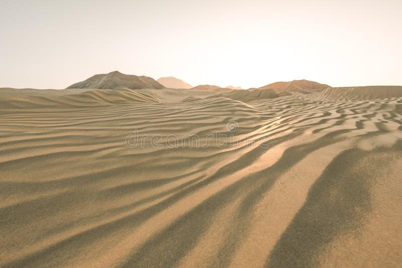 τρισδιάστατη απόδοση, η ευρεία έρημος, με τις μορφές λωρίδων ελεύθερη απεικόνιση δικαιώματος