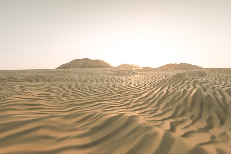 τρισδιάστατη απόδοση, η ευρεία έρημος, με τις μορφές λωρίδων διανυσματική απεικόνιση