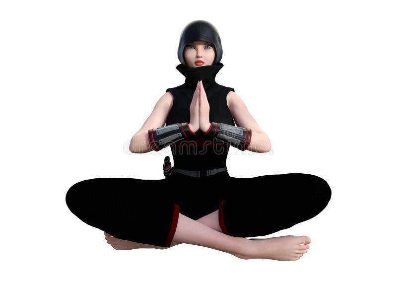 τρισδιάστατη απόδοση θηλυκό Ninja στο λευκό ελεύθερη απεικόνιση δικαιώματος